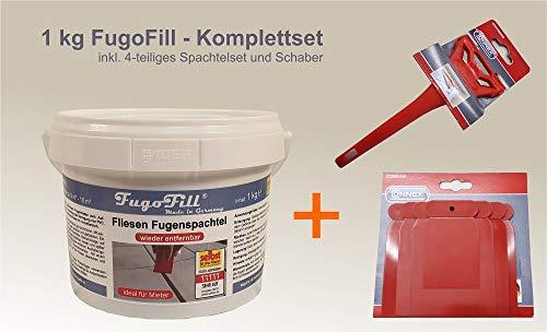 1 kg FugoFill KOMPLETTSET- ENTFERNBARE Fugenmasse/Fugenspachtel zum Ausgleichen von Fliesenfugen bei Vinyl, PVC, Teppich oder Laminat auf Fliesen - IDEAL für MIETER, Farbe: Grau