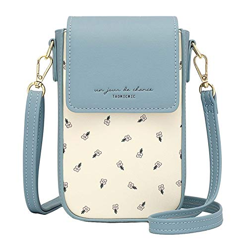 Handy Umhängetasche Damen,Aeeque Leder Handytasche mit Geldbörse zum Umhängen Brieftasche Crossbody Klein Blumen mit Kartenfächer, Mini-Tasche Verstellbar Schultergurt für Handy unter 6,5 Zoll - Blau