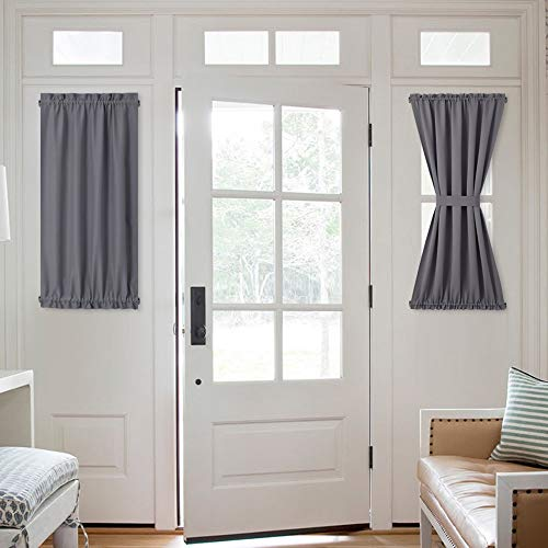 NICETOWN Window Curtain for French Door - Thermal Insulated Blackout Patio Door Curtain/Sidelight Curtain Panel (25W by 40L inches, Grey, 1 Panel)