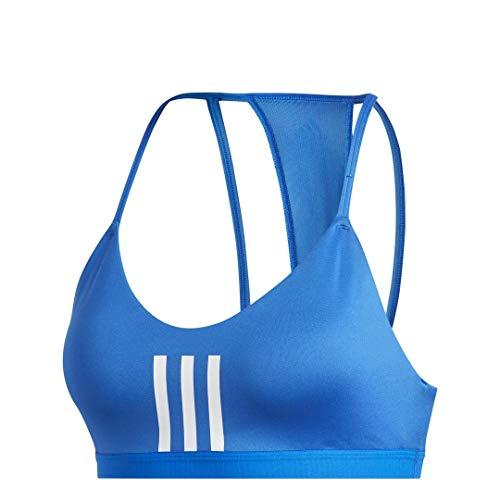 adidas Women's All Me 3-Stripes Mesh AEROREADY Training Pilates Yoga Light Support Workout Bra Glory Blue/White X-Large