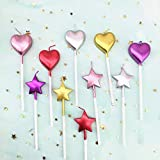 10 Cute Heart Shaped and Star Birthday Candles Multi-Color Cake Candle Toppers for Party Wedding Cake Decoration Supplies (Multi-Color Heart Star and Heart, 10)