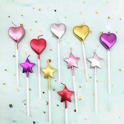 10 Cute Heart Shaped and Star Birthday Candles Multi-Color Cake Candle Toppers for Party Wedding Cake Decoration Supplies (Heart Star, Multi-Colored)