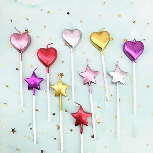 10 candele di compleanno a forma di cuore e stella multicolore per torta di festa nuziale decorazione forniture (multicolore cuore stella e cuore, 10)