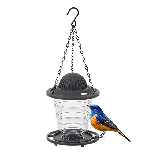 RoxNvm Comedero Pajaros Silvestres, Comedero para Pájaros Exterior, Comedero Aves Colgante Transparente, Comedero pájaros de plástico para pinzones, petirrojos, pequeños pájaros Silvestres (Gris)