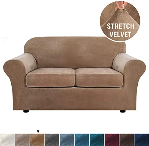 Best Real Velvet Plush 3 Piece Stretch Sofa Cover Velvet-Sofa Slipcover Loveseat Cover Furniture Protecto
