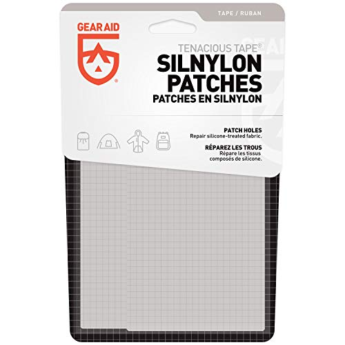 """GEAR AID Tenacious Tape Silnylon Patches for Silicone Tent and Tarp Repair, 3""""x5"""""""