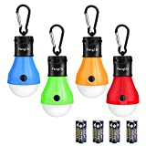 FengChi LED Camping Lantern, [4 Pack] Portable Outdoor Tent Light Emergency Bulb Light with Hook for Camping, Hiking, Fishing,Hurricane, Storm, Outage