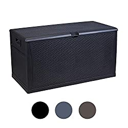 LEISURELIFE Plastic Deck Box Wicker 120 Gallon, Black - Waterproof Storage Container Outdoor Patio Garden Furniture