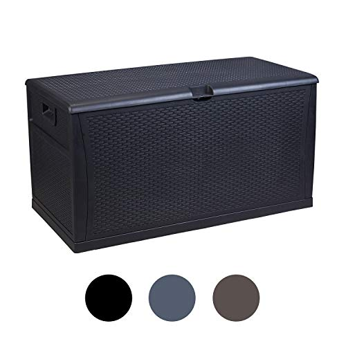Plastic Deck Box Wicker 120 Gallon, Black - Waterproof Storage Container Outdoor Patio Garden Furniture