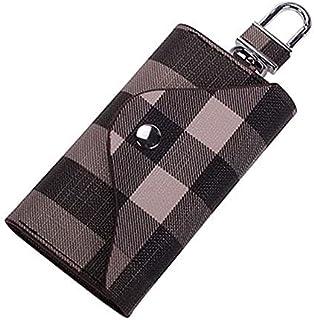 Women Men Leather Car Key Chain Card Holder, Money Wallet Pouch Case 6 keys Organizer Bag Case (Black)