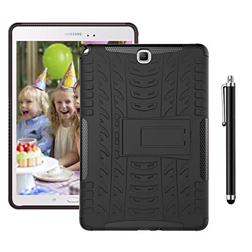 SsHhUu Case for Galaxy Tab S3 9.7 SM-T820/T825, Heavy Duty Silicone + PC Protective Case Tough Dual Layer Cover with Kickstand for Galaxy Tab S3 9.7-Inch Tablet SM-T820 T825 T827, Black