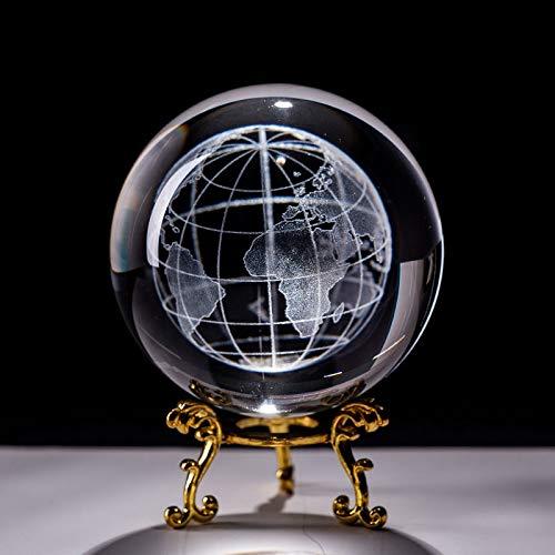 Kristallkugel 6cm Lasergravierte Earth Miniatur Kristall 3D Kugelglaskugel Kugel Glas Papiergewicht Handwerk Ornament Dekoration Figur Decorine Figur Wahrsagerkugel Hexenkugel Feng Shui