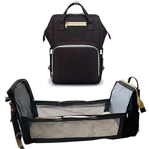 knowledgi - Mochila para pañales 3 en 1 para bebé, plegable, con colchón, cuna de viaje y mochila