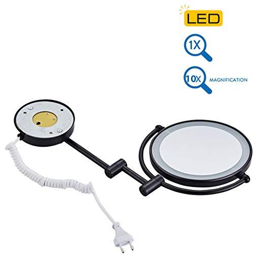 Clioy Make-upspiegel met ledverlichting en 10-voudige vergrotingsspiegel, 360 graden horizontaal draaibaar en verticaal voor het opmaken en scheren, Europees stopcontact
