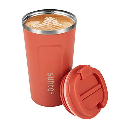 SUNTQ Kaffeebecher to go Thermobecher Edelsthal - Auslaufsicher Kaffeebecher mit Deckel - Wiederverwendbare Kaffeetasse - Thermobecher für Unterwegs Umweltfreundlich, Orange 510ml