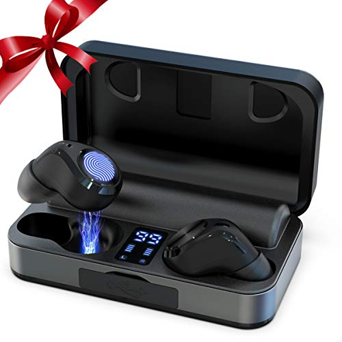 True Wireless Earbuds, Bluetooth 5.0 Headphones Waterproof 14 Hours Continuous Playtime with Built-in Mic 3000mAh Charging Case Touch Control TWS Hi-Fi Stereo Deep Bass Noise Cancelling Headset