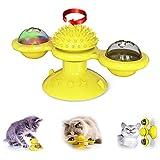KitoLee 猫 おもちゃ 風車 猫 ボール 回転 円盤おもちゃ 噛むおもちゃ 吸盤猫玩具 噛むおもちゃ 運動不足やストレス解消 (イェロー)