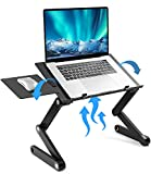 LORYERGO Laptop Stand - Adjustable Laptop Stand w/2 CPU Cooling Fans, Laptop Desk w/ Mouse Pad, Laptop Lap Desk for Bed & Sofa, Fits up to 15.6' Laptops, Ergonomic Desk Stand for Laptops - LELS01