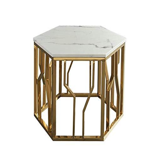 GAOLIM Hexagon Marble Sofa Side Table Salon Or Table Basse en Acier Inoxydable Table De Chevet Salon Meubles De Chambre À Coucher, 58 & Times; 53CM (Couleur: Blanc)