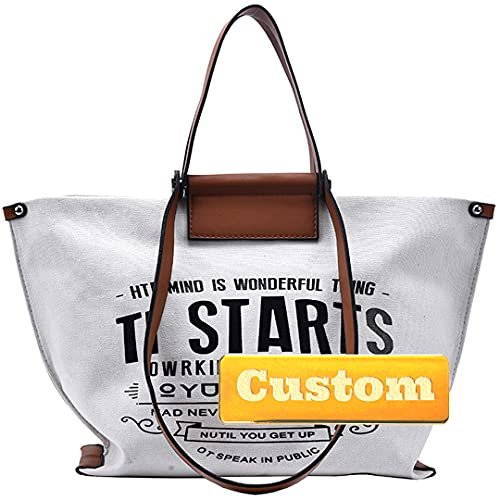 Nombre Personalizado Nombre con Cremallera con Cremallera Bolsa de Asas de Lona de algodón Bolso de Hombro marrón (Color : White, Size : One Size)