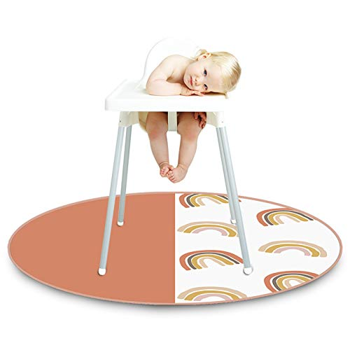 Tapis de chaise haute 132,1 cm imperméable pour bébé, protection de sol antidérapante, multi-usages, tapis de jeu rond pour bébés, tout-petits, enfants,...