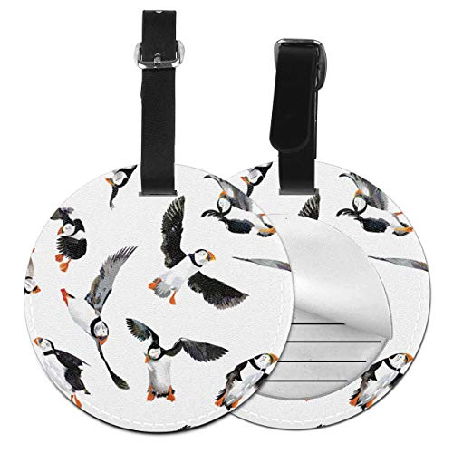 Puffin Birds Pattern Round Luggage Tags Leather Baggage Travel ID Labels