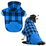 KOOLTAIL Plaid Dog Hoodie for Large Dogs Pet Clothes, Blue XXL