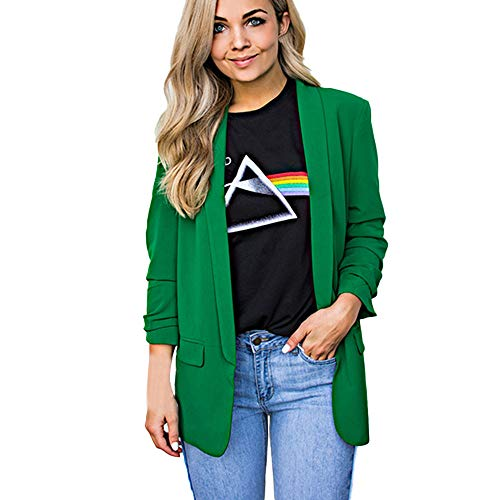 Womens Solid Long Sleeve Blazer Open Front Cardigan AmyDong Casual Jacket Coat Tops Blouse(Green,L)