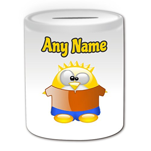 Gepersonaliseerd geschenk - Dwaze Bart Simpson Money Box (Penguin Cartoon Character Kostuum Design Thema, wit) - Elke naam/bericht op uw unieke - Spaar Piggy Bank - Grappige Novelty Kawaii Humor Anime Animation Film Film Spel Nieuwe kunst Clipart Episode TV Televisie Series Japan Japanse Manga Comedy Strips Boek Disney Tekenen Superhero Hero Familie Springfield Homer Lisa Maggie Marge