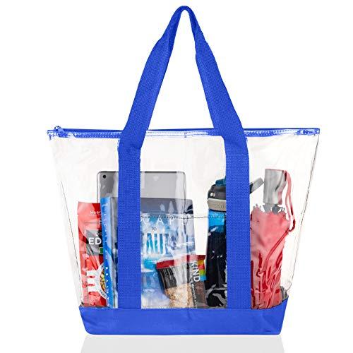 Bags for Less Large Clear Vinyl Tote Bags Shoulder Handbag (Royal Blue)