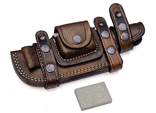 Cutlery Era Custom Handmade Bushcraft Tracker/Skinner Knife Buffalo Leather Right/Left Hand Horizontal Scout Sheath & Sharpening Stone Set (Brown)
