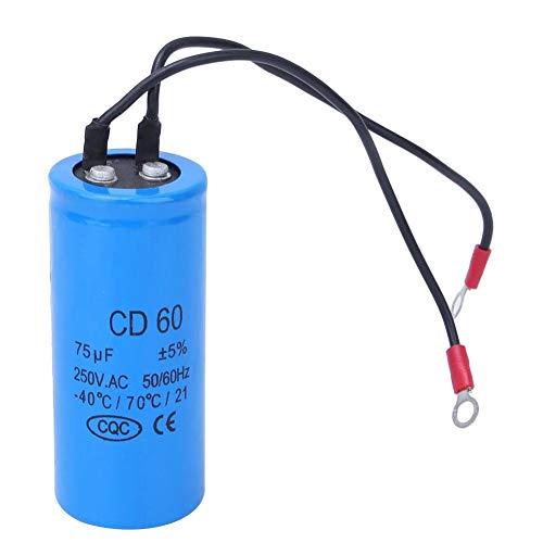 Motorbetriebskondensator, CD60 Motorstartkondensator, 75uf 250V 75MFD HVAC Kondensator für Kühlschrank, Klimaanlage, Wechselstrommotor, Wasserpumpe, Generator usw.