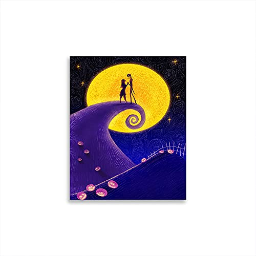 STTYE Póster de The Nightmare Before Christmas Fashion Pop Girl Room Painting Abstracto Under the Moonlight Party Decoraciones Suministros 61 x 91 cm