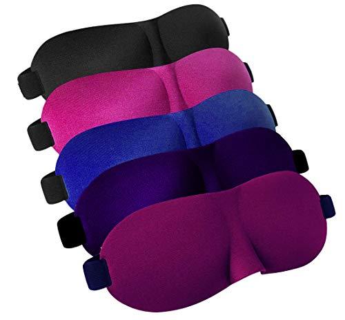 LABOTA 5pcs Premium Schlafmaske, 3D Augenmaske - komfortabel verstellbare Gurte für alle Kopfgrößen - perfekt für Reisen, Schichtarbeit und Meditation