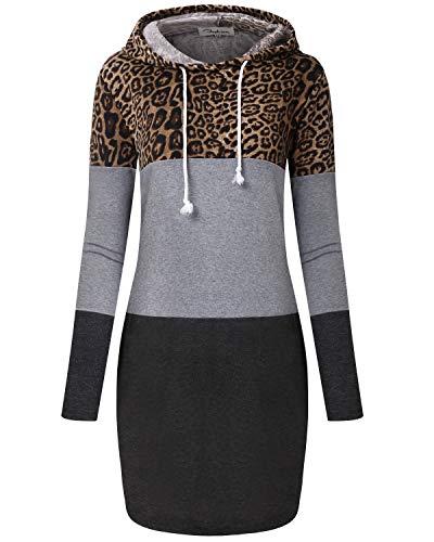 ABYOXI Damen Langarm Sreifen Pullover Mit Kapuze Sweatshirts Kleid Loose Kapuzenpullover Hoodie Leopard XL