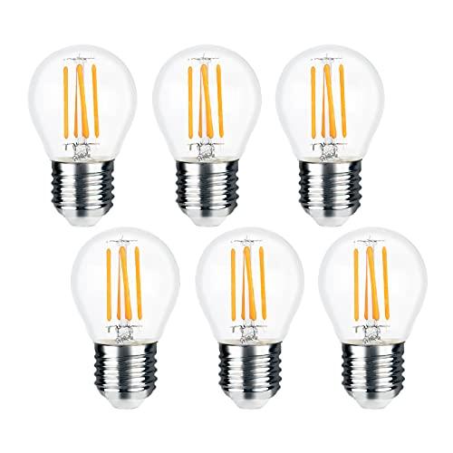 Lampadine G45 E27 LED 4W Dimmerabile Luce Calda 2700K, Lampadina Sfera Grande Equivalente a Incandescenza E27 40W, 400LM, AC 230V, Lampadine Globo E27 Filamento per Lampadario, set di 6