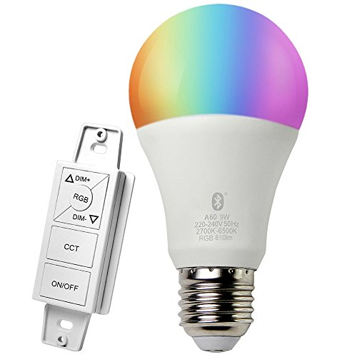 iLintek Dekorative Lichter Intelligentes Spot Starter Set für White und Color Ambience Wireless Lighting, Smart 9W E27 LED Glühbirne Lampen,Dimmerschalter B1 mit 5 Tasten,Multicolor, Dimmbar