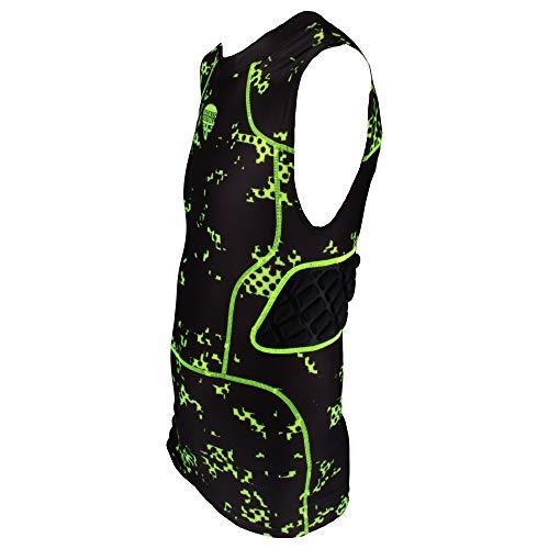 3 Pad Digi Protection Shirt Badass mit Rippenpolsterung - schwarz/neongrün Gr. XL