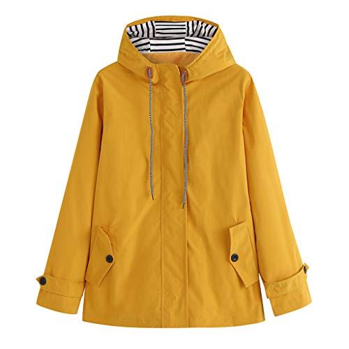 QingJiu Damen Einfarbig Kapuzenjacke Wasserdichter Regenmantel Plus Größe Winddichter Mantel Mode im Freien Parka Outwear