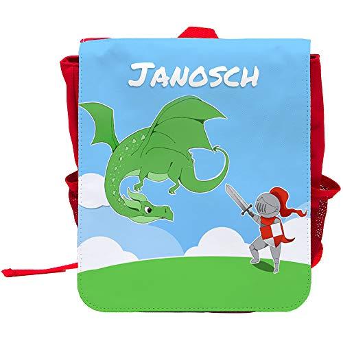 Kinder-Rucksack mit Namen Janosch und schönem Motiv mit Ritter und Drache für Jungen