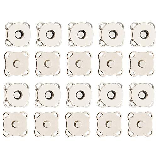 Nuluxi Nähen Druckknöpfe Magnetverschlüsse für Bekleidungszubehör Magnetische Knopf Praktisches Zubehör Verwendet für Nähen Handarbeiten Basteln Kleidung Tasche und Sammelalben- 30 Stück/18mm (Silber)