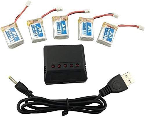 ZYGY Ersatzakku 5pcs 3.7V 150mah Lithium Batterie Akku mit 5 in 1 Ladegeräte für JJRC H36 E010 E011 E013 Quadcopter