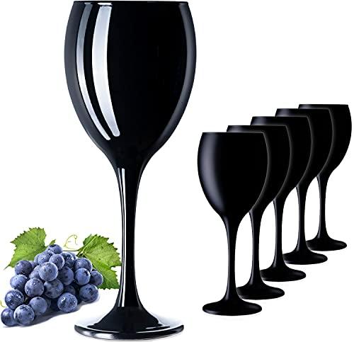 PLATINUX Juego de 6 copas de vino de cristal negro de 320 ml