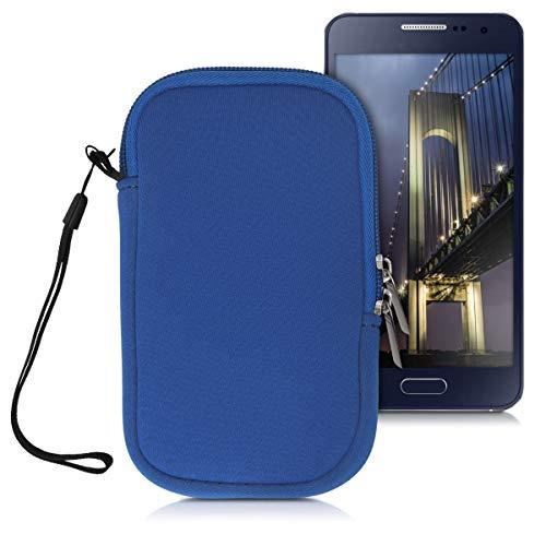 kwmobile Funda para móviles de M - 5,5' - Estuche de Neopreno con Cierre para móvil - Carcasa en Azul