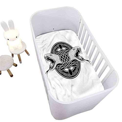 Hiiiman Celtic Fitted Crib Sheet,Heads of Two Snakes Tribal Decorative Microfiber Toddler Sheet Portable Crib Mattress Topper for Baby Boys Girls,Ultra Soft Jersey,Full Standard,28' x 52'
