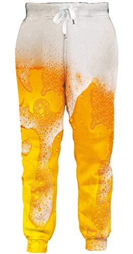 ALISISTER Herren Hose Bunt 3D Bier Grafik Jogginghose Jungen Damen Freizeithose Casual Hipster Running Sportswear Sweatpants mit Kordelzug L
