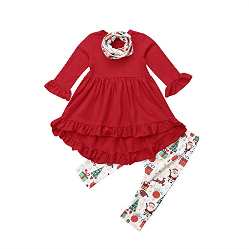 Baby Girls Clothes Set, Long Sleeve Irregular Hem Tops with Ruffle + Christmas Patterns Trousers + Scarf for Spring, Fall (Red, 3-4T)