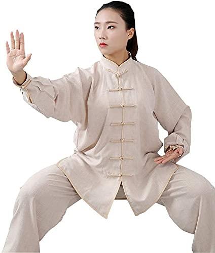 KUXUAN Traje Chino de Tai Chi, Traje Tang, Ropa Tradicional para Hombre, Camisetas y Pantalones con Mangas Bordadas Hanfu,Hebilla,Collar del Soporte,Beige-Xlarge