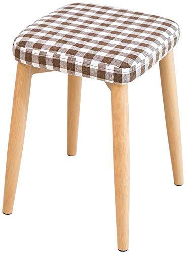 Woonkamer stoel Dining Room Side Kruk gestoffeerde voetenbank Ottomaanse Ronde Poef houten poten plein Groot Chequered 4 Legs