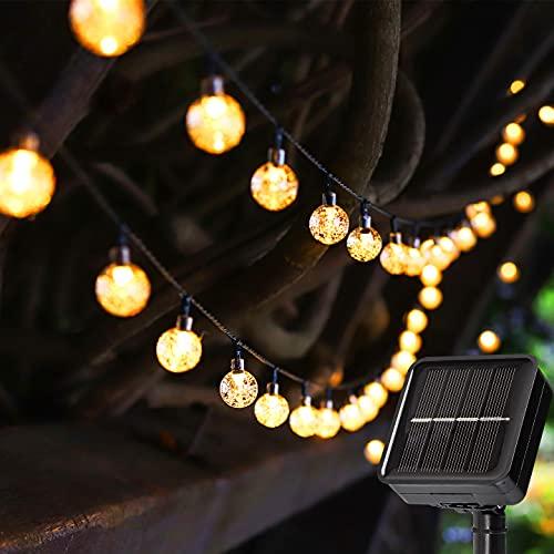 Solar Lights Outdoor String Lights 23ft 50 LED Fairy Lights Solar Powered 8 Modes Auto On/Off Christmas Lights Outdoor Waterproof Decorative Globe Lights for Patio Garden Gazebo Bistro Balcony Metaku